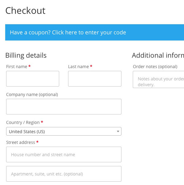 WooCommerce Checkout Fixes - Before